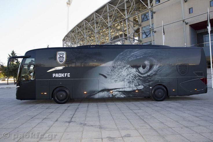 Το καινούριο λεωφορείο του ΠΑΟΚ ντυμένο στο σχέδιο που εσείς επιλέξατε http://www.paokfc.gr/nea/ta-prota-xiliometra-sto-konter-tou-neou-leoforeiou/