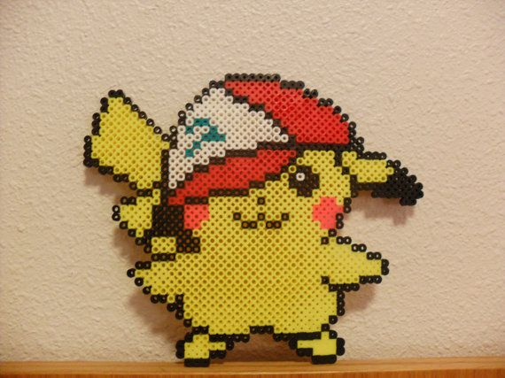 Perler Beads Pikachu in Ashs hat Pokemon by KawaiiLittlePresents, $9.99