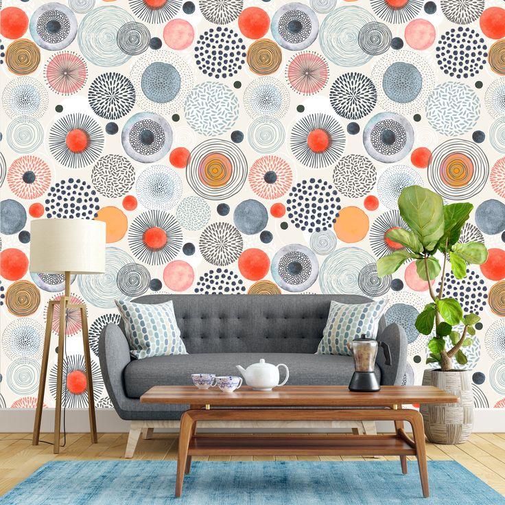 Removable Wallpaper Grey Orange Watercolor Circle Shapes