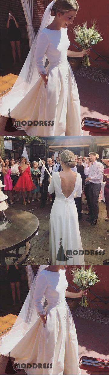 Romantic Wedding Dresses A-line Long Sleeves Long Prom Dresses Open Back Satin Bridal Dresses,HS631  #promdress #fashion #shopping #dresses #eveningdresses #2018prom