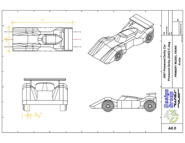 Free Pinewood Derby Car Templates to Print primary AutoCad views - pinewood derby template
