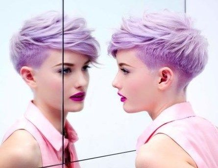 perfectly tapered asymmetrical pixie cut - love this cut AND I want this color sass patch!Purple Hair, Perfect Tapered, Tapered Asymmetrical, Shorts Haircuts, Cut Hair, Haircuts Inspiration, Asymmetrical Pixie Cuts, Undercut Pixie, Purple Pixie