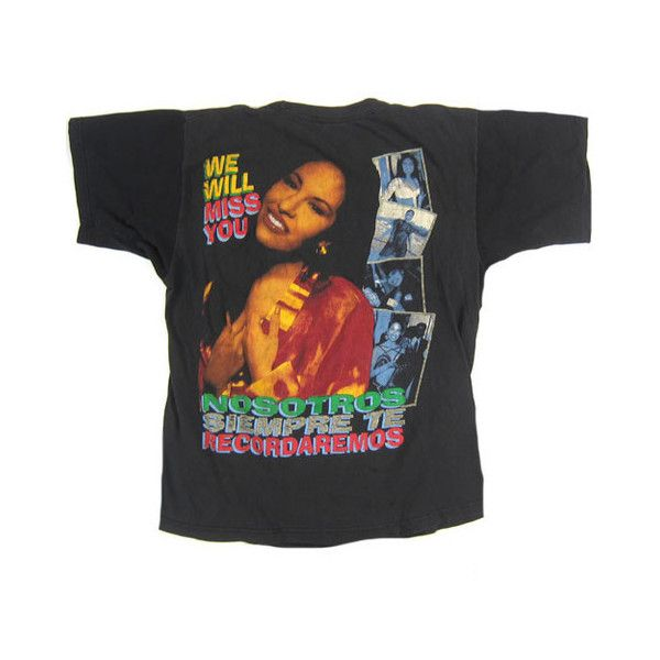 Vintage Selena Quintanilla 1995 T-Shirt ❤ liked on Polyvore featuring tops, t-shirts, shirts, tees, ripped shirt, torn shirt, tee-shirt, distressed tee and ripped t shirt