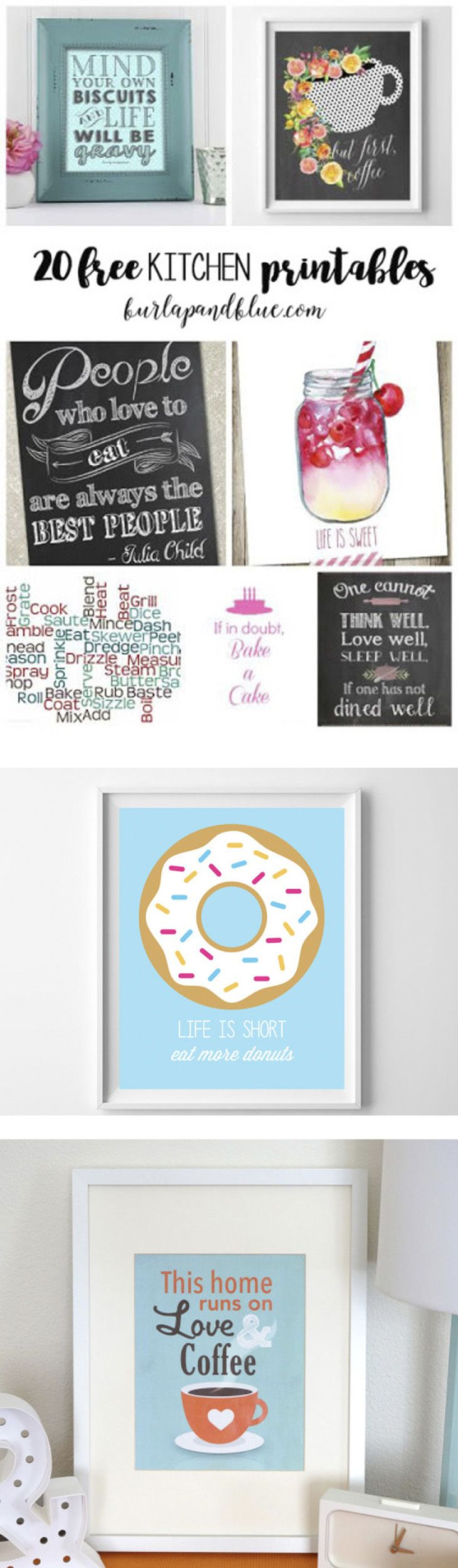 20 free kitchen printables! update your kitchen with free printable art!