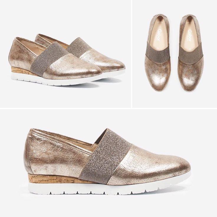 Bronskleurige instapper van Gabor met een tussenzool gemaakt van kurk. Dit zorgt voor een goede schokdemping en een optimaal loopcomfort. #shoes #brons #kurk #trendy #musthave #favourites
