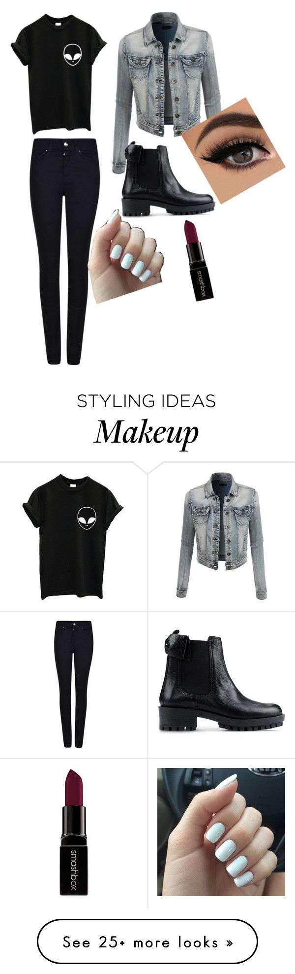 """""""Kenzie's emo af"""" by giannajsmith on Polyvore featuring LE3NO, Giorgio Armani, RED Valentino, Smashbox, women's clothing, women's fashion, women, female, woman and misses"""