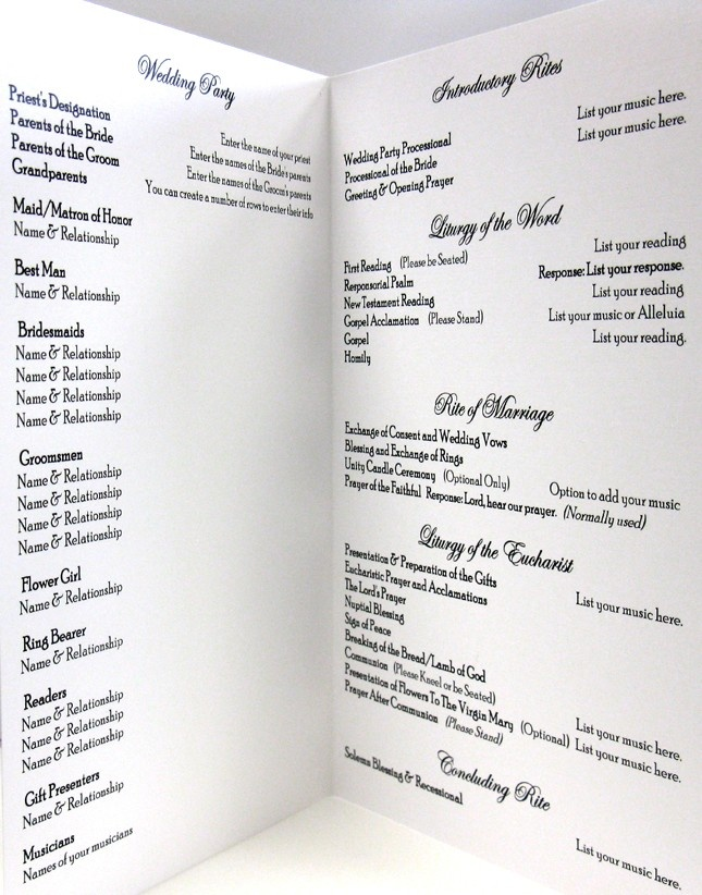 Catholic wedding program templates with mass