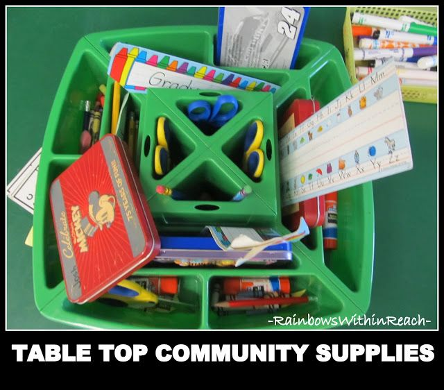 Community Supplies in Kindergarten, Table Top Container of Shared Materials  Figure set ups/ table for each lesson for each grade/class. #art