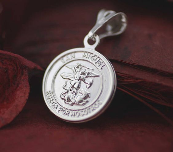 Saint Michael Archangel Medal St Michael Necklace Sterling