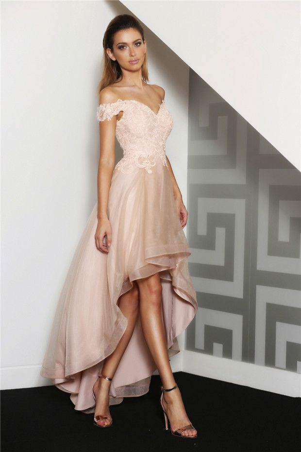 Off-the-shoulder Pearl Pink Lace Bodice Long Organza overlay Satin Homecoming…