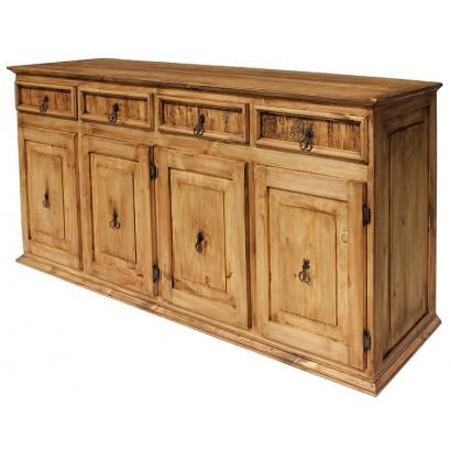 Inch for inch, this is our largest and most affordable rustic credenza. With four large cabinets and drawers, you will have that extra space you need.  Perfect for any room of your home, this sturdy southwestern credenza is hand made of solid pine by skilled Mexican craftsmen.  You will love its distressed finish and detailed exterior.