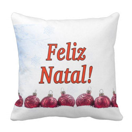 Feliz Natal! Merry Christmas in Portuguese rf Throw Pillow