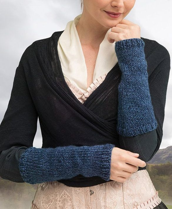 Outlander Knitting Kit for Pursuit Of Craigh Na Dun Arm Warmers - From the official Outlander kits from Lion Brand. Includes all the yarn you need for the project, as well as a copy of the pattern  Skill level: easy; size: one size; Finished circumference about 7 1/2 in. (19 cm) at Hand, 9 in. (23 cm) at forearm. Finished length about 11 in. (28 cm)