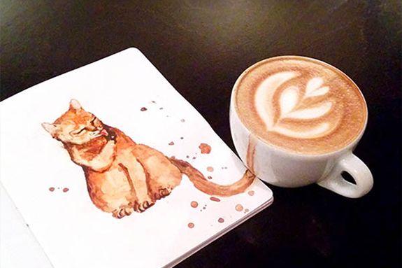 Lindos desenhos de gatos feitos de café saindo das xícaras