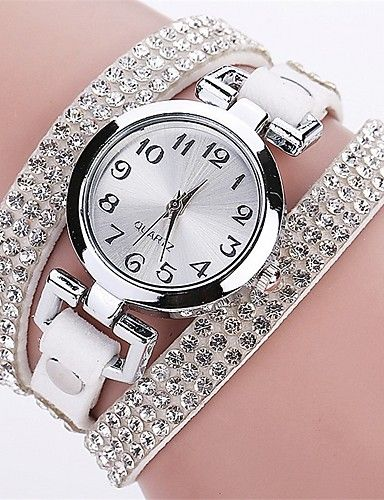 9d991394f Women's Fashion Watch Bracelet Watch Simulated Diamond Watch Quartz Quilted PU  Leather Black / White / Blue Casual Watch Imitation Diamond Analog Ladies  ...