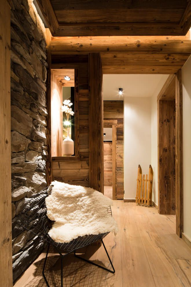 ski chalet wooden rustic alp interior stone and wood walls flooring