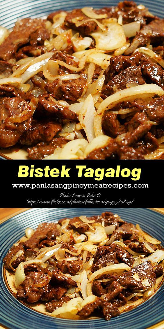 Bistek Tagalog (Filipino Beef Steak) http://www.panlasangpinoymeatrecipes.com/bistek-recipe-filipino-beef-steak.htm #Bistek