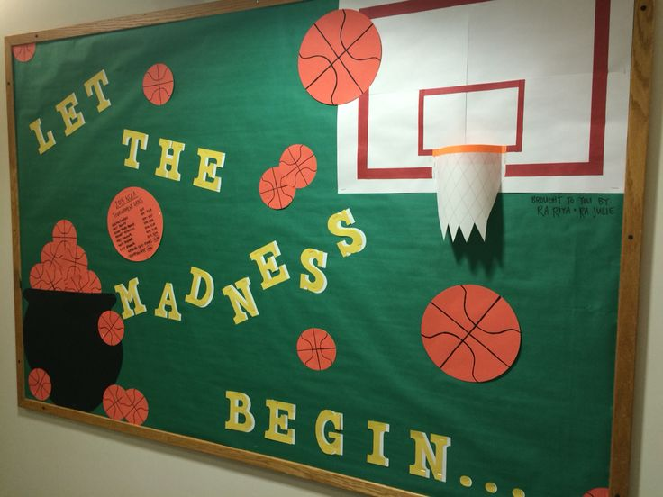 March Madness bulletin board! #marchmadness #RAlife #bulletinboard #march #basketball #potofgold