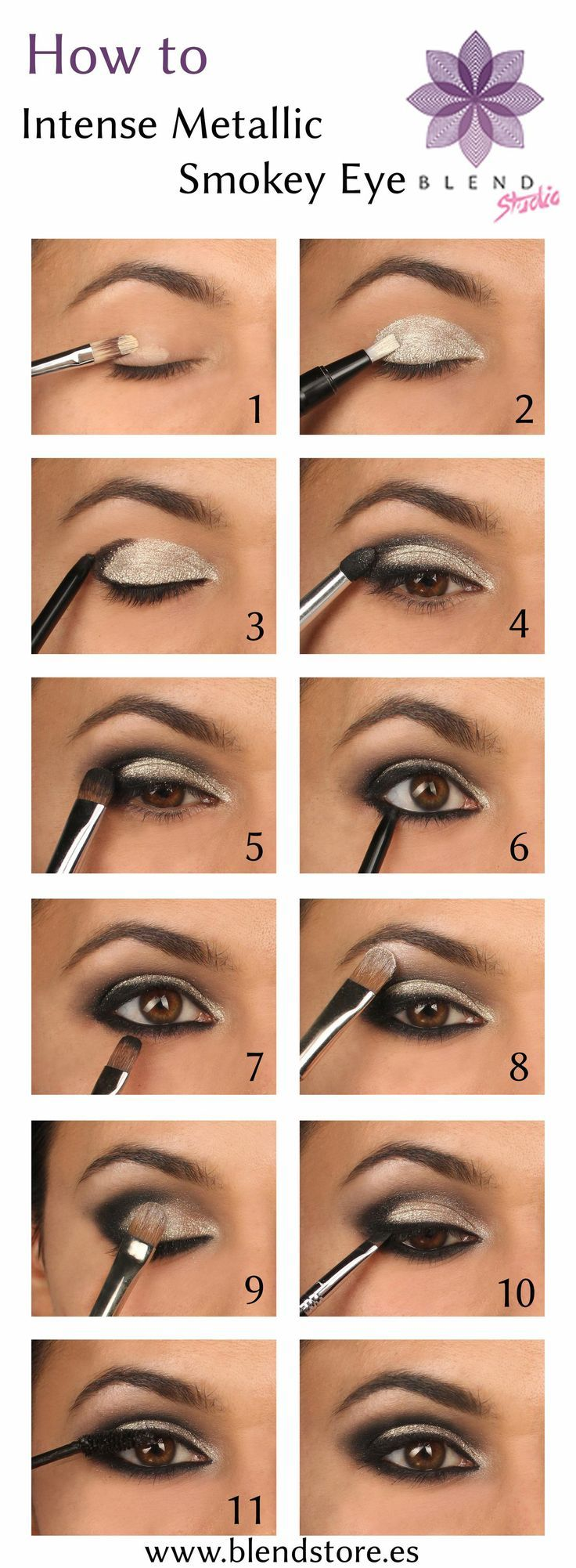 Metallic Smokey Eyes for Party Eye Makeup - ooh I have these colors