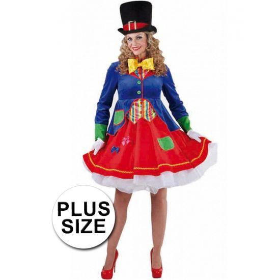 Grote maten clowns jurkje Lucky voor dames. Prachtige clownsjurk met volle rok en een aangehecht jasje met lange mouwen. Het jurkje is gemaakt van 100% polyester.