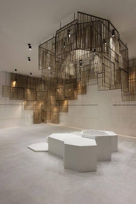 Bangkok boutique featuring woven bamboo screens.
