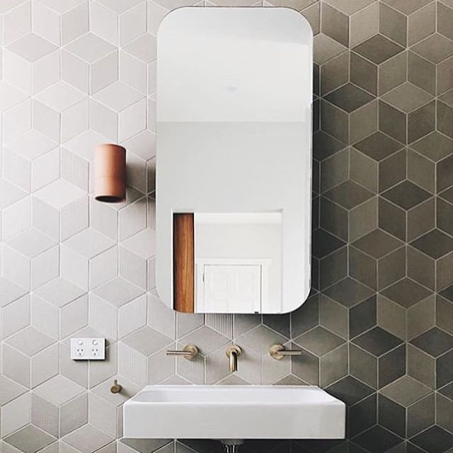 Brushed Brass Wall Tap Set Above Wall Mounted Wash Basin Geometric Tessellated Tiled Feature Wall With Rounded Rectangula Bathroom Design Wash Basin Wall Taps