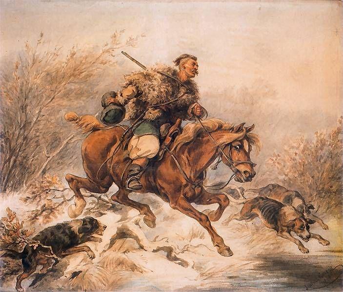 """Hunter with Dogs"" by Juliusz Kossak, 1868"