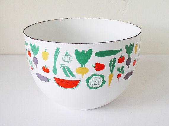 Finel Arabia enamel bowl fruit and vegetables Kaj by kitschcafe, $65.00