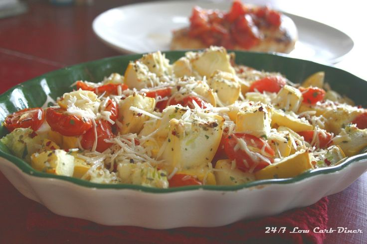The Freshest Summer Casserole - Yellow Squash, Tomatoes, Herbs and Parmesan