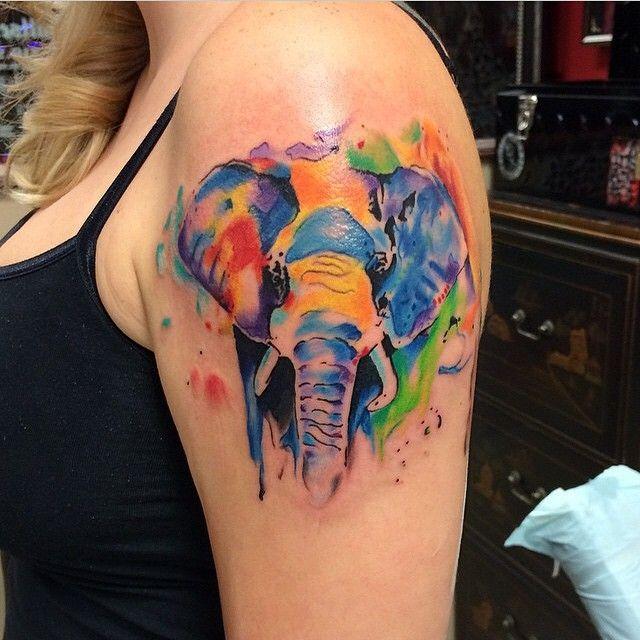 watercolor elephant tattoo - frankie oneshot