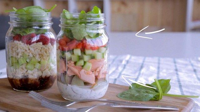 Salade en pot au saumon | Cuisine futée, parents pressés