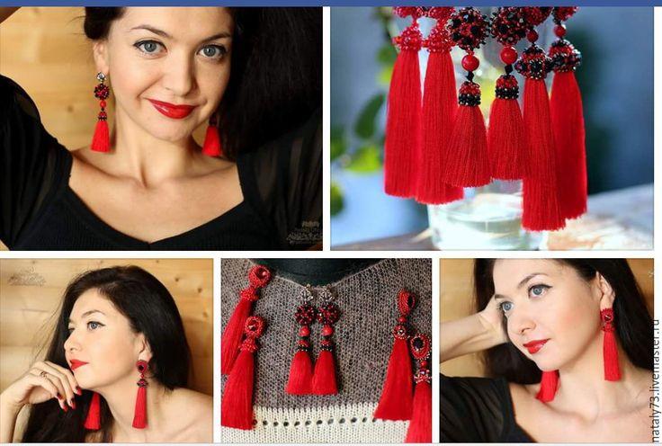 Купить Красные серьги-кисти +кольца! (разные варианты) - ярко-красный, модные серьги
