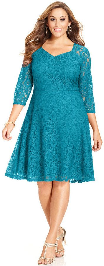 Plus Size Three-Quarter-Sleeve Lace A-Line Dress