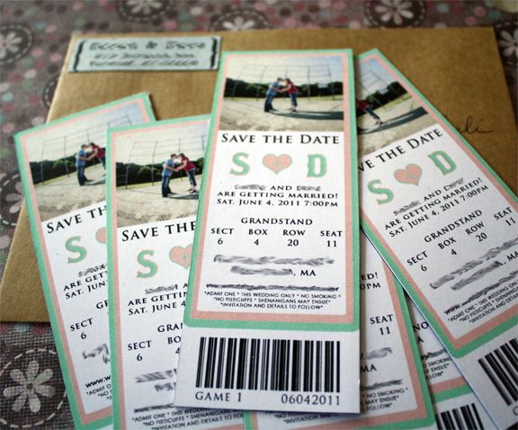 baseball ticket save the date magnet baseball wedding sports