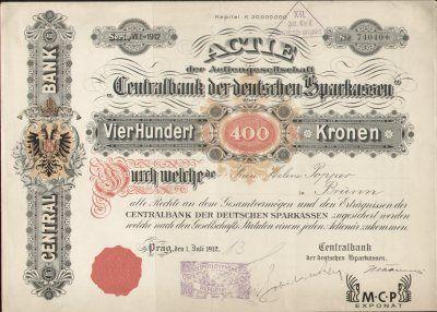 Muzeum cennych papiru A0066 Centralbank der deutschen Sparkassen ( Ústřední banka německých spořitelen ) 1912
