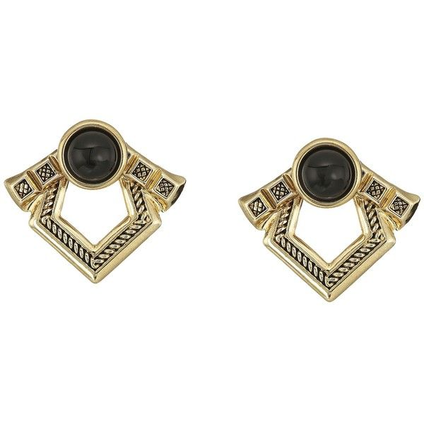 House of Harlow 1960 Patolli Ear Jacket Earrings (Gold/Black) Earring ($53) ❤ liked on Polyvore featuring jewelry, earrings, earring jewelry, gold earrings, yellow gold jewelry, yellow gold earrings and house of harlow 1960