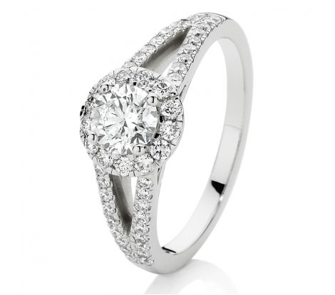 This engagement ring features 0.90ct of brilliant cut diamonds TDW, including a 0.50ct Canadian Fire centre stone and set in 18ct white gold