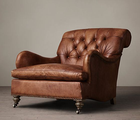 restoration hardware, carlton leather club chair in tobacco