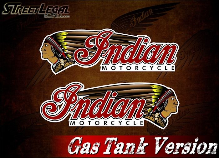 "2 Indian Motorcycle Gas Tank 9½"" Vinyl Decals"