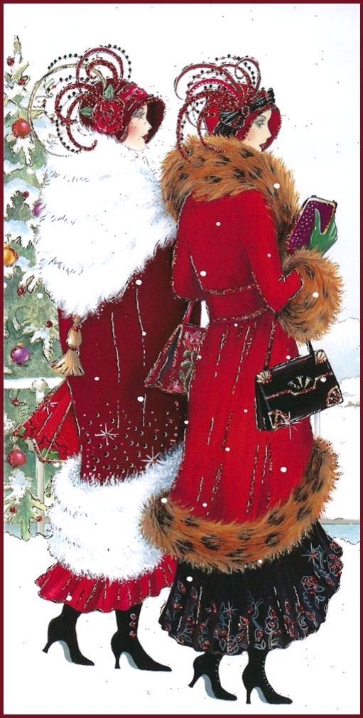 """Christmas Ladies walking in the snow.  Click their link for poem, Old Years and New"""" by  Edgar A. Guest"""