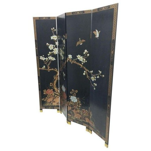 Carved Magnolia Japanese Screen ($2,000) ❤ liked on Polyvore featuring home, home decor, panel screens, room dividers, japanese panel screens, japanese home decor, japanese room dividers, japanese screen and magnolia home decor