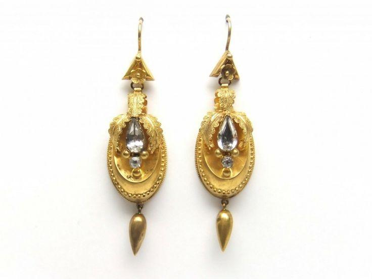 Victorian 15ct aqua drop earrings