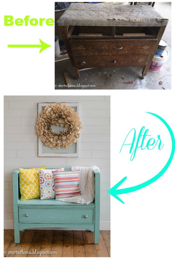 DIY dresser turned bench
