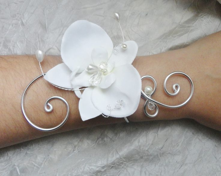 Bracelet mariée, mariage orchidée ivoire