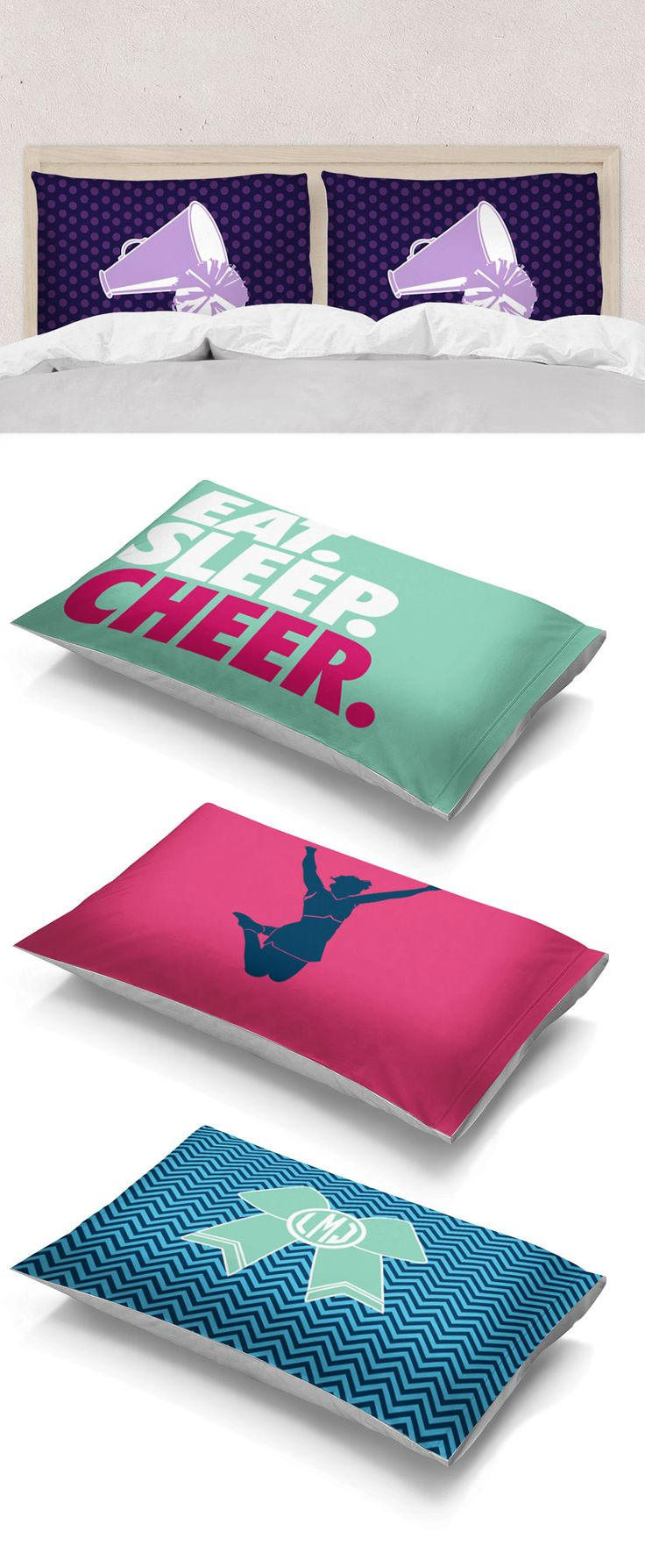 Cheerl pillowcases -- the perfect addition to any cheerleader's bedroom! Treat them to a custom or personalized pillow to add to their bed, we know they'll be doing back flips!