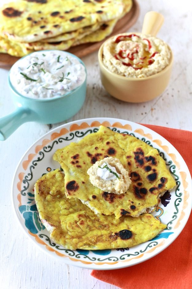 Naan with Curry Butter and Dips by TheNoshery.com. Gotta have this.