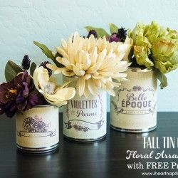 Fall Tin Can Floral Arrangement with FREE Printables #floralarrangment #falldecor #freeprintables #frenchlabels on www.iheartnaptime.com