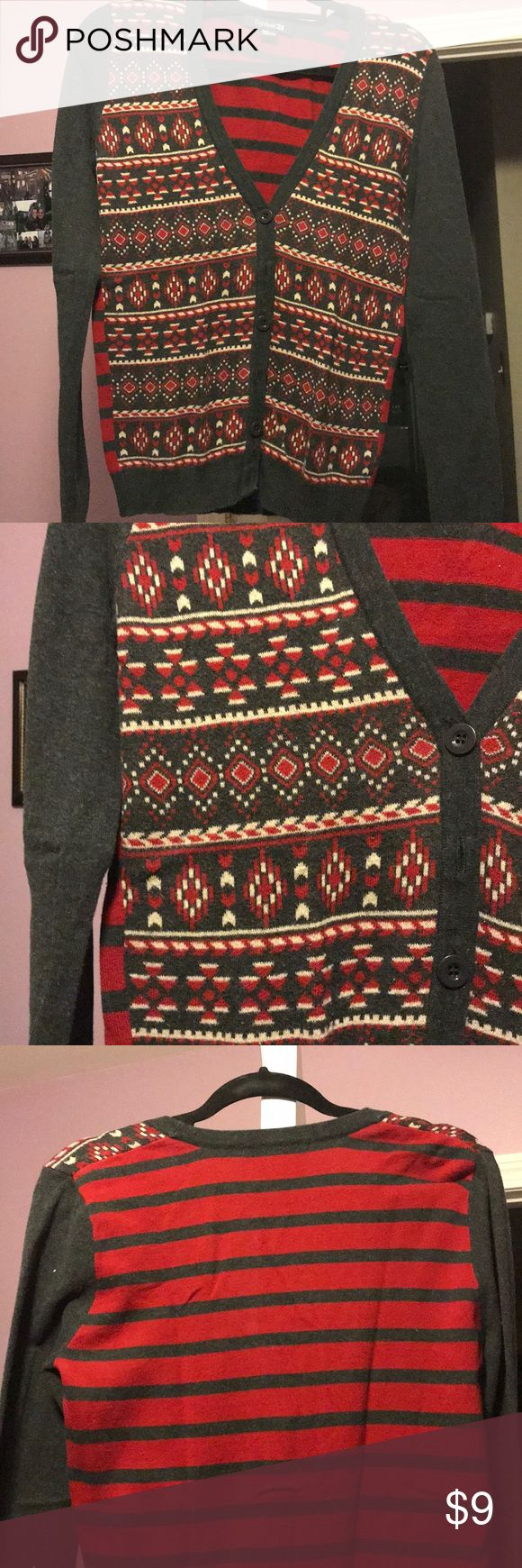 Aztec print cardigan Excellent condition Aztec print cardigan pattern on front, stripes on back Forever 21 Sweaters Cardigans