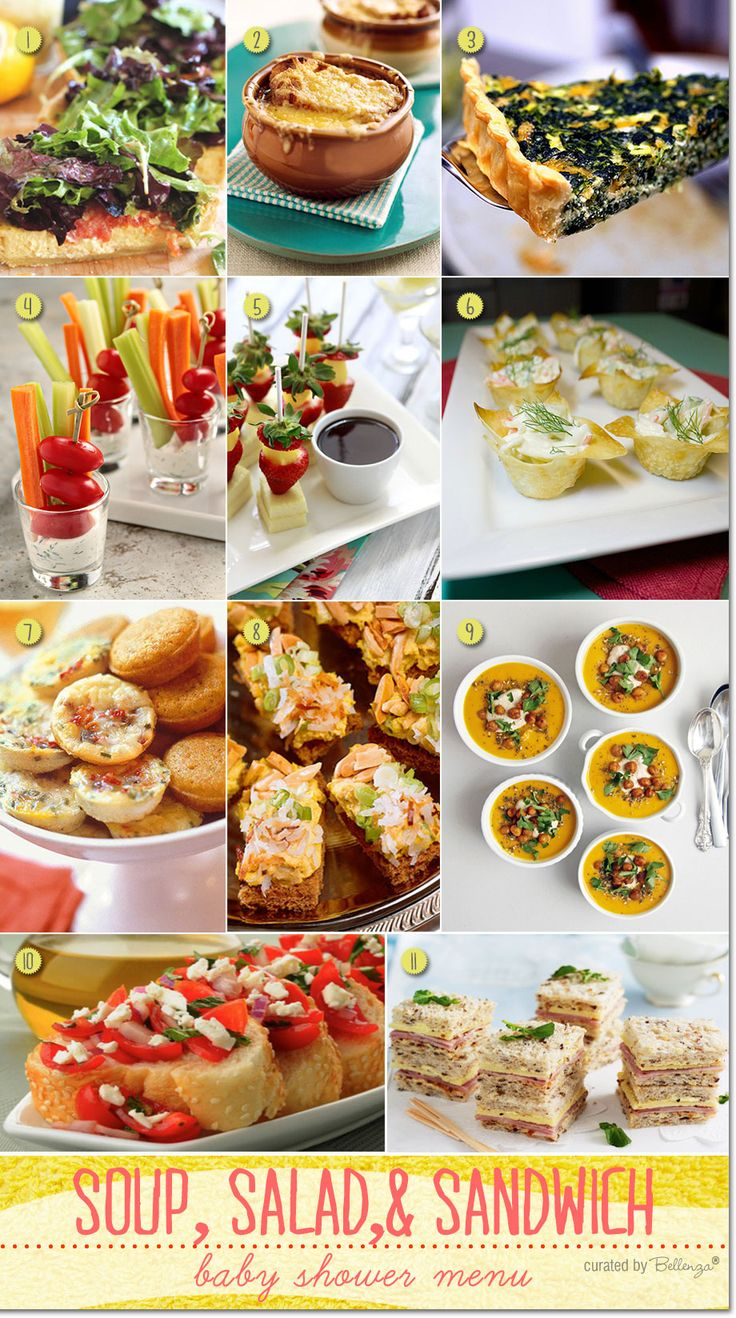 Simple Baby Shower Menu Ideas with Soup, Salad, and Sandwiches with French Onion Soup, Caesar Salad Bread, Veggie Sticks, Quiche, and Bruschetta.