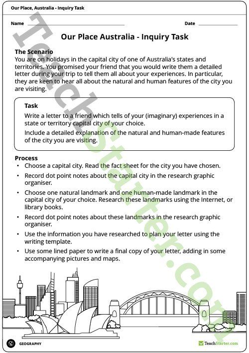 Teaching Resource: An inquiry task focusing on the natural and human features of Australia.